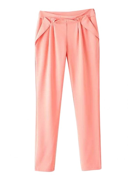 chic Pleated Solid Color Pants - ORANGEPINK XL