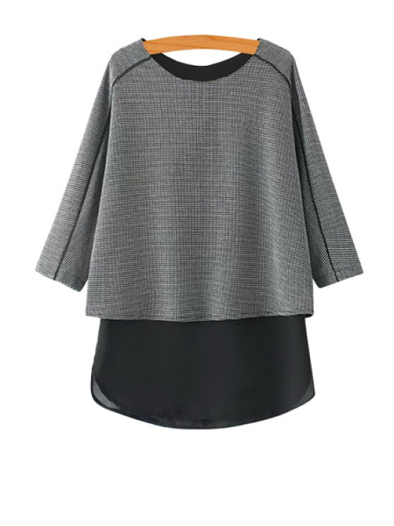 women's Checked Splicing Blouse - BLACK S