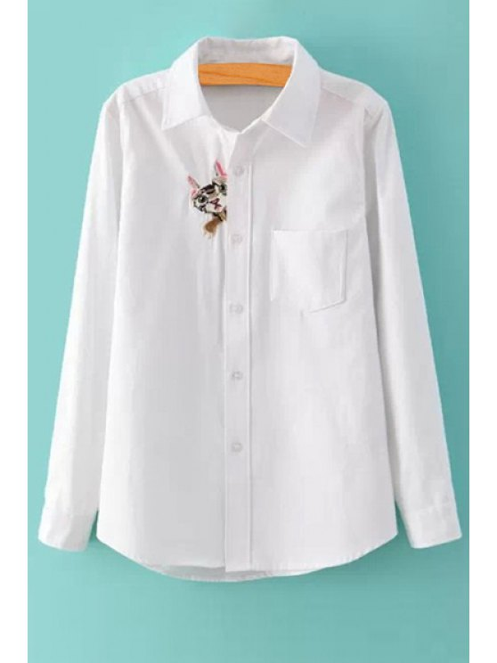affordable Kitten Embroidery White Shirt - WHITE S