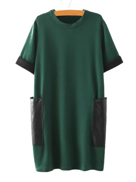 shops Color Block Short Sleeve Sweater Dress - GREEN ONE SIZE(FIT SIZE XS TO M)
