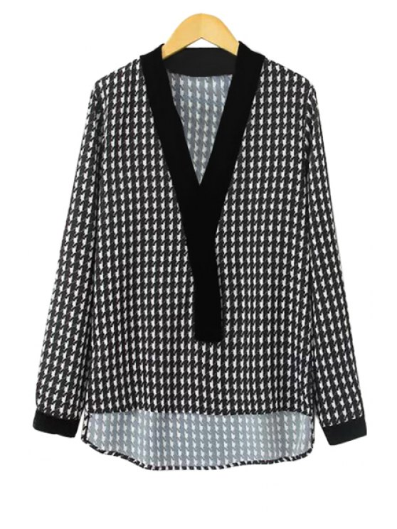 online V-Neck Houndstooth Print Blouse - WHITE AND BLACK S