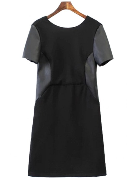 ladies PU Leather Splicing Short Sleeve Dress - BLACK S