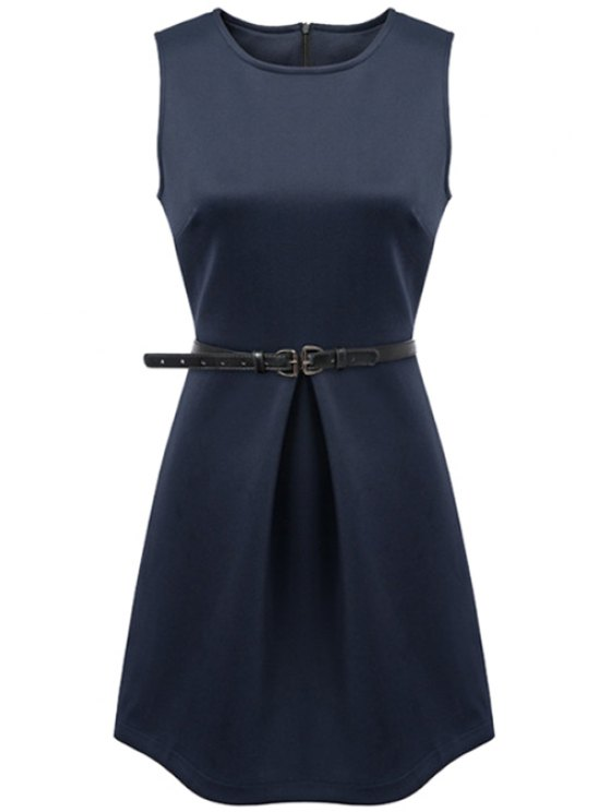 outfit Solid Color Sleeveless Belt Dress - CADETBLUE S