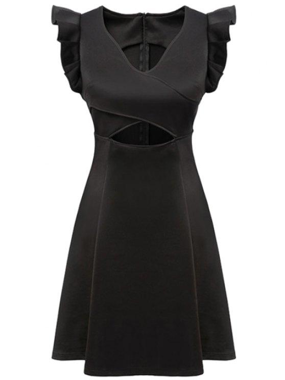 trendy Black V-Neck Ruffled Dress - BLACK S
