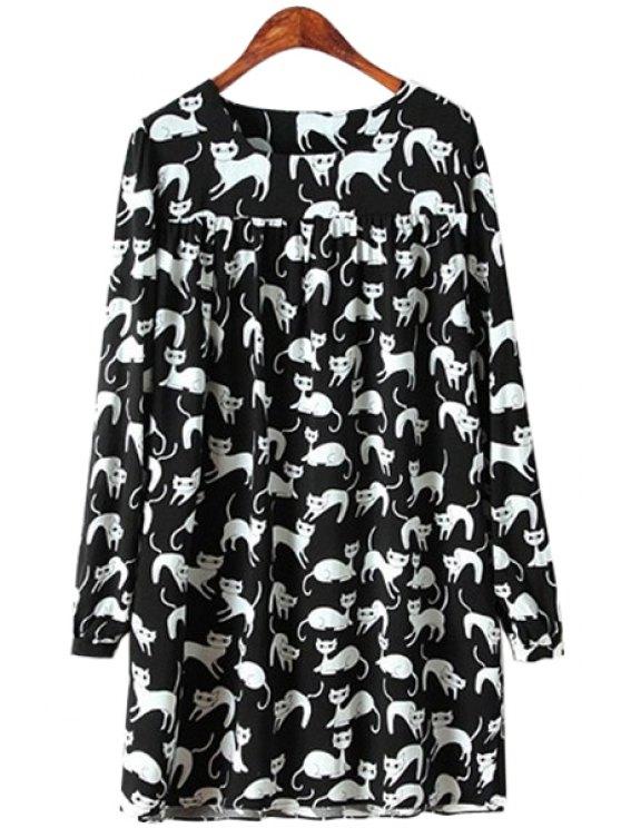 fancy Full Kitten Print Long Sleeve Dress - BLACK S