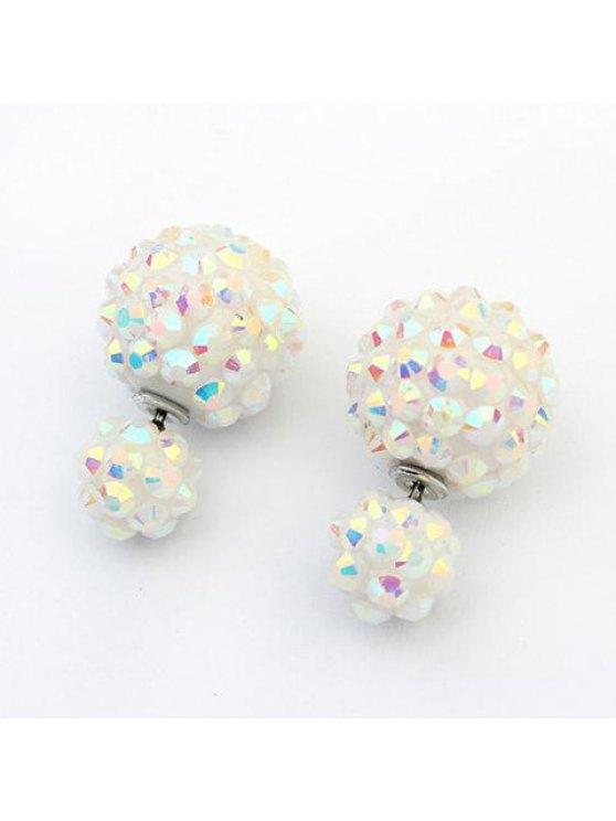 trendy Pair of Chic Women's Rhinestone Candy Color Ball Earrings - COLOR ASSORTED