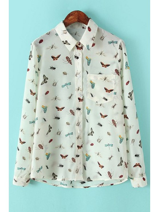 ladies Insect Print Long Sleeve Shirt - OFF-WHITE S