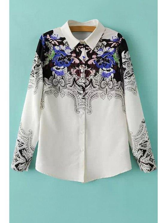 women Shirt Collar Retro Print Shirt - WHITE AND BLACK S