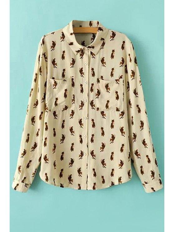 new Full Animal Print Long Sleeve Shirt - BEIGE S