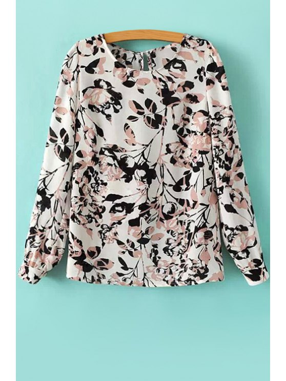 chic Leaf Print Long Sleeves Blouse - WHITE AND BLACK S