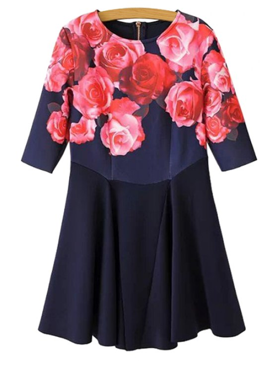 lady Rose Print Half Sleeve Dress - RED S