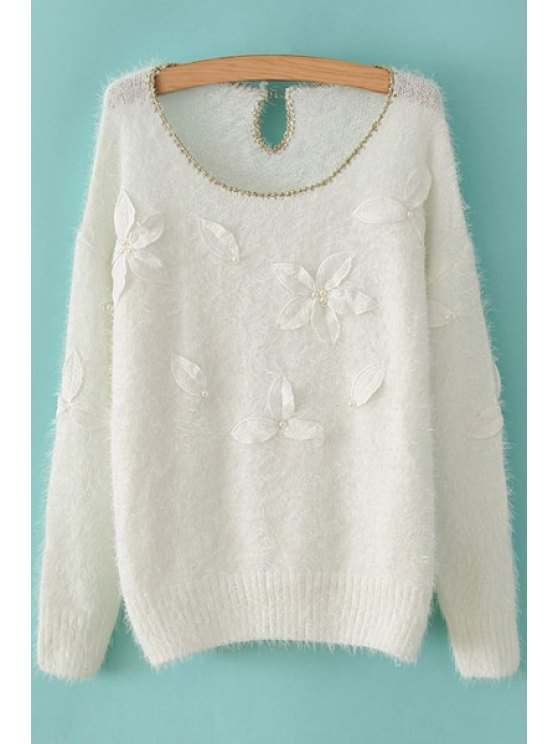 shop Leaf Embroidery Long Sleeve Sweater - WHITE ONE SIZE(FIT SIZE XS TO M)