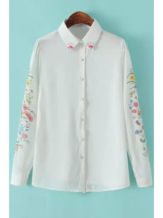 lady Floral Beaded Long Sleeve Shirt - WHITE S
