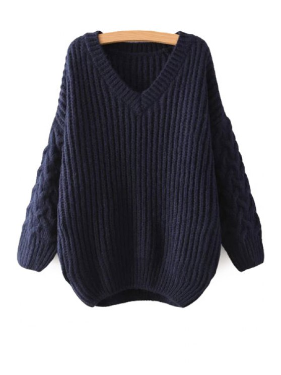 best V-Neck Cable-Knit Sweater - DEEP BLUE ONE SIZE(FIT SIZE XS TO M)