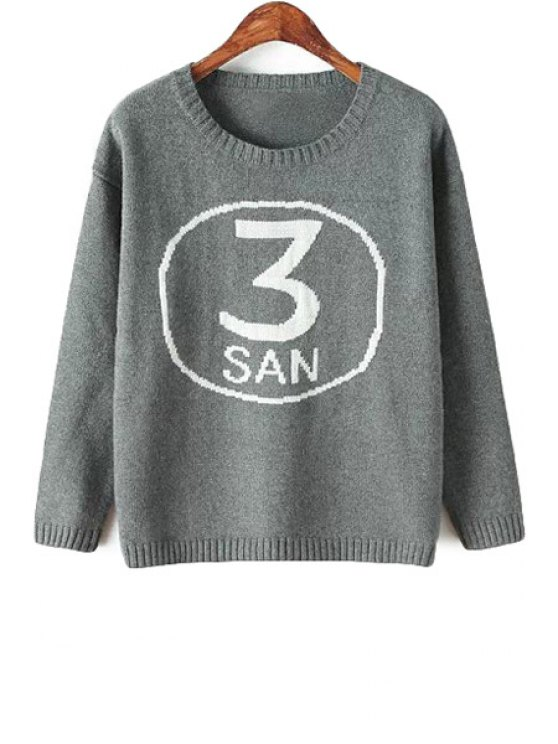 women's Number Pattern Long Sleeves Sweater - GRAY ONE SIZE(FIT SIZE XS TO M)