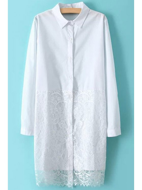 shops Lace Splicing Shirt Collar Shirt - WHITE ONE SIZE(FIT SIZE XS TO M)
