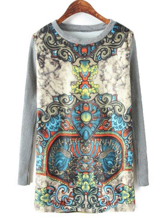 shop Retro Print Knit Splicing Sweatshirt - GRAY ONE SIZE(FIT SIZE XS TO M)