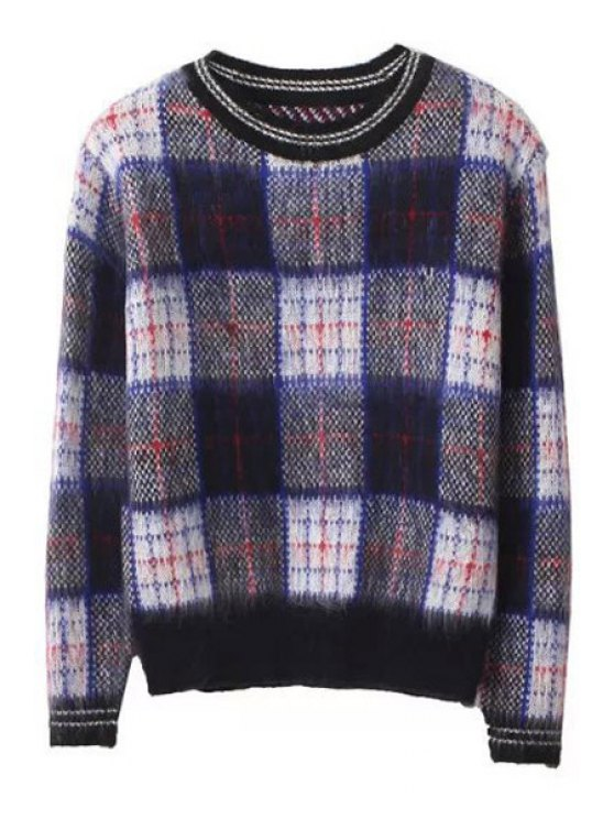 new Plaid Pattern Long Sleeve Sweater - CHECKED ONE SIZE(FIT SIZE XS TO M)