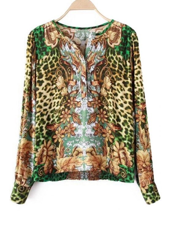 fashion V-Neck Leopard Print Blouse - LEOPARD S