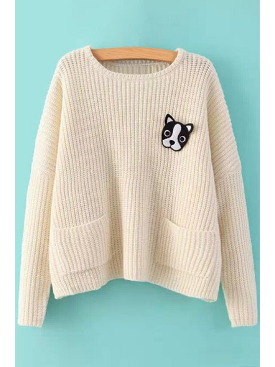 outfits Puppy Pattern Long Sleeve Sweater - OFF-WHITE ONE SIZE(FIT SIZE XS TO M)
