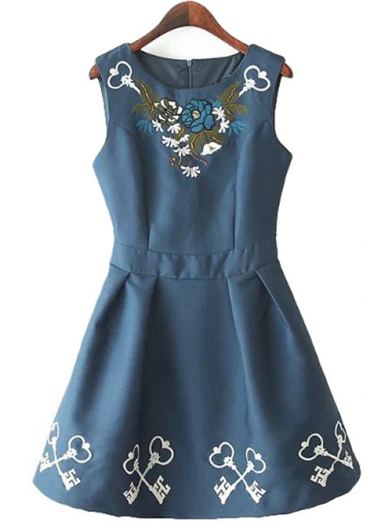 buy A-Line Floral Embroidery Sundress - DEEP BLUE S