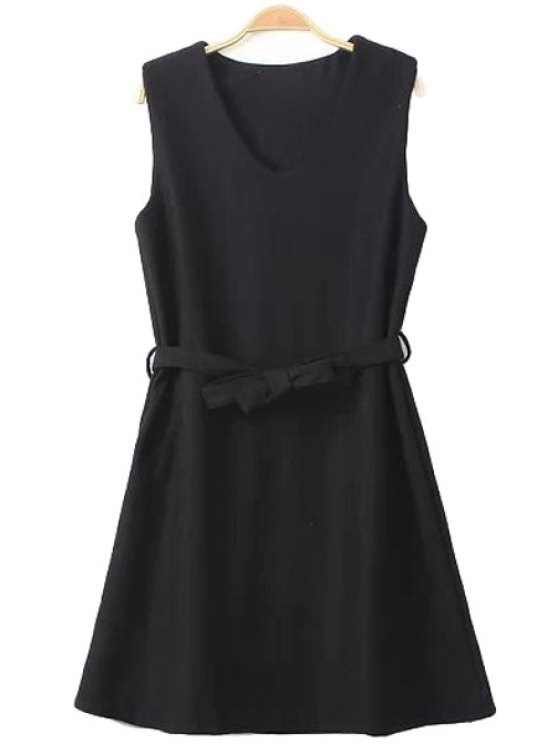women's Solid Color Self-Tie Sundress - BLACK ONE SIZE(FIT SIZE XS TO M)