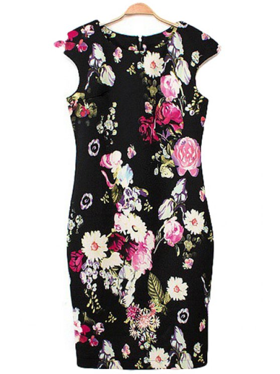 lady Floral Print Bodycon Dress - BLACK S
