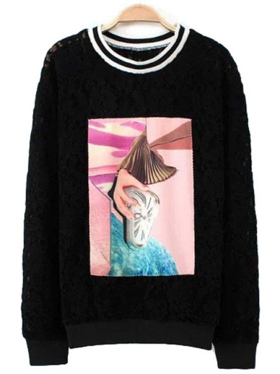outfits Lace Print Long Sleeve Sweatshirt - BLACK XS