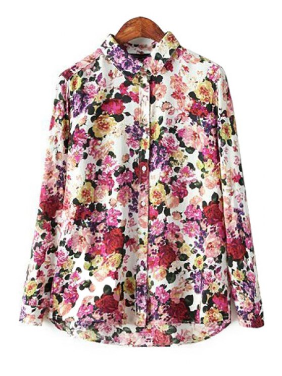 latest Long Sleeves Full Floral Print Shirt - COLORMIX S