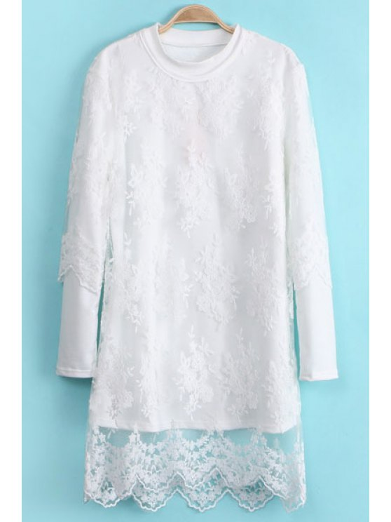 women Solid Color Sweatshirt and Lace Dress Twinset - WHITE ONE SIZE(FIT SIZE XS TO M)