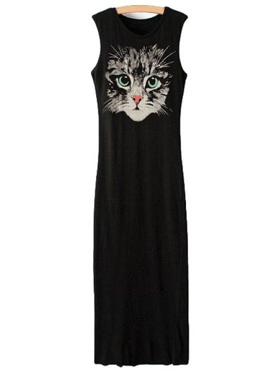 women Sleeveless Kitten Print Sundress - BLACK S