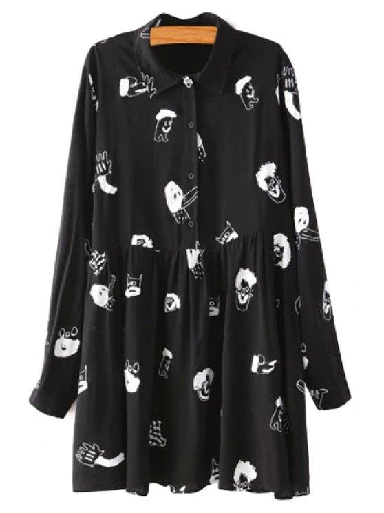 hot Turn-Down Collar Cartoon Print Dress - BLACK S