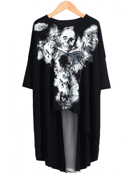 lady High-Low Hem Skull Print T-Shirt - BLACK S