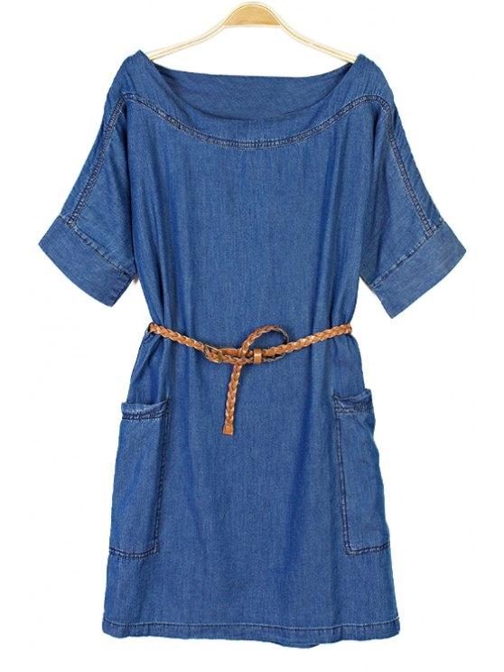 outfits Solid Color Short Sleeve Denim Dress - BLUE L