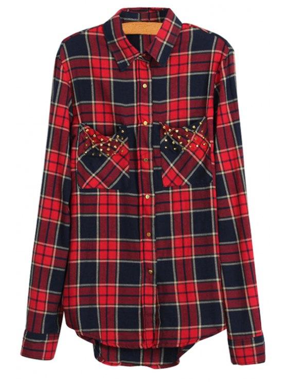 ladies Plaid Print Rivet Long Sleeve Shirt - RED S