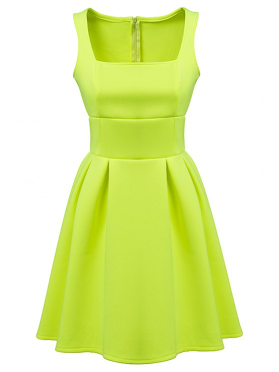 chic Sleeveless Solid Color A-Line Dress - GREEN S