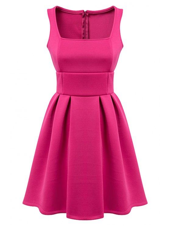 fancy Sleeveless Solid Color A-Line Dress - PLUM L
