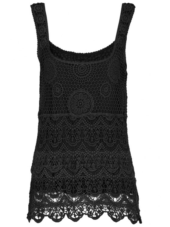 women's Lace Embroidery Tank Top - BLACK S