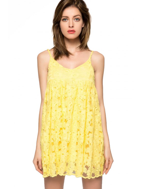 hot Floral Spaghetti Straps Dress - YELLOW XS