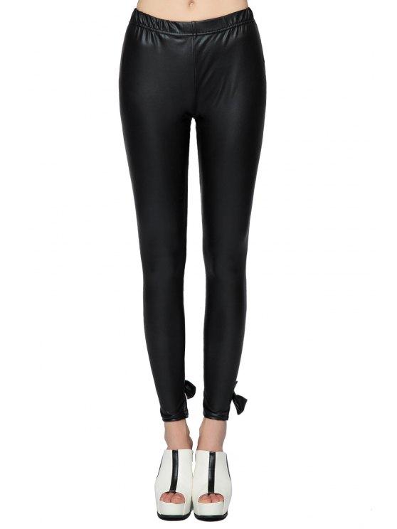 unique PU Leather Bowknot Leggings - BLACK XS