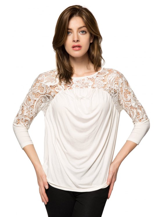 ladies Lace Splicing Nine-Minute Sleeve Blouse - WHITE XS