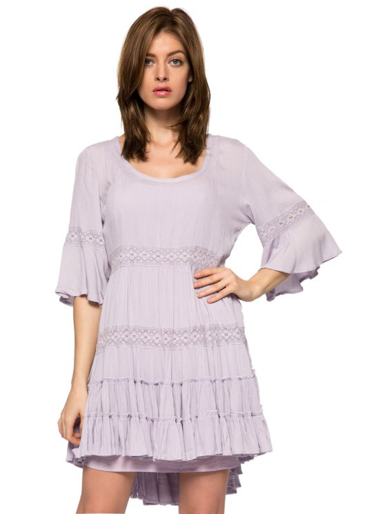 affordable Lace Splicing 3/4 Sleeve Dress - PURPLE XS