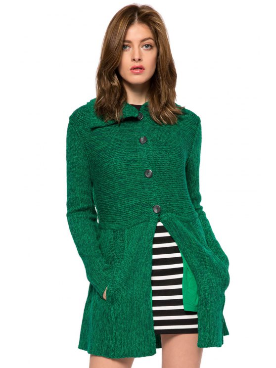 latest Solid Color Turn-Down Collar Cardigan - GREEN XS