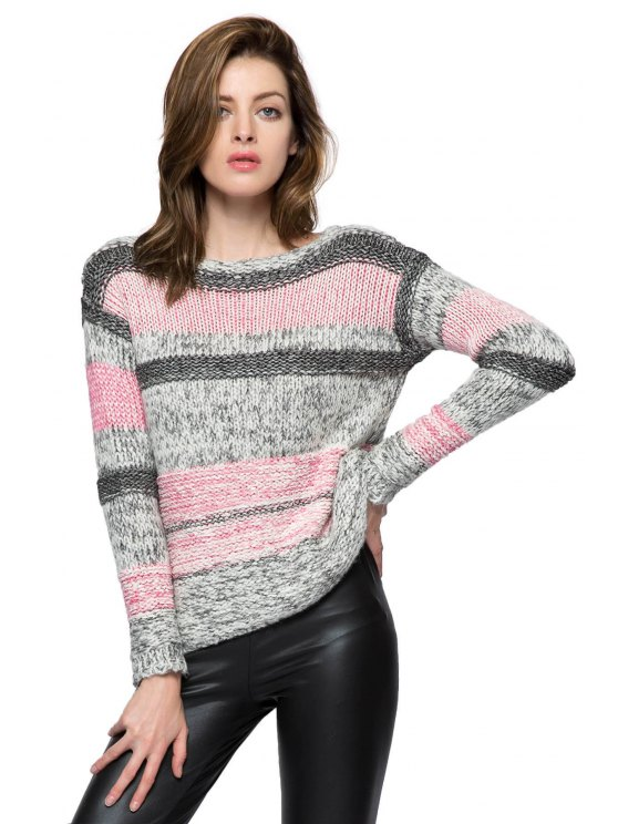 lady Striped Nine-Minute Sleeve Sweater - PINK S