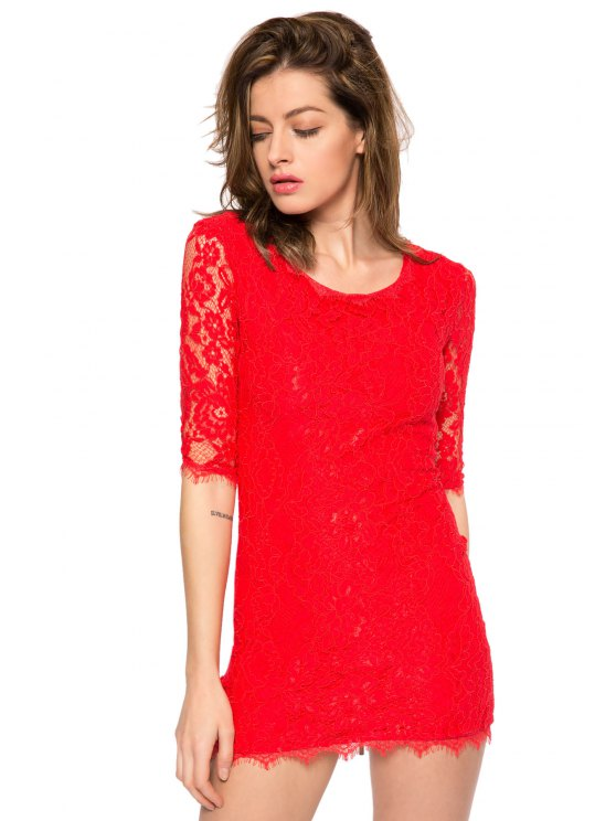 chic Solid Color 3/4 Sleeve Lace Dress - RED XS