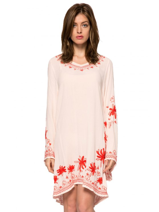 new Floral Embroidery V-Neck Dress - SHALLOW PINK XS