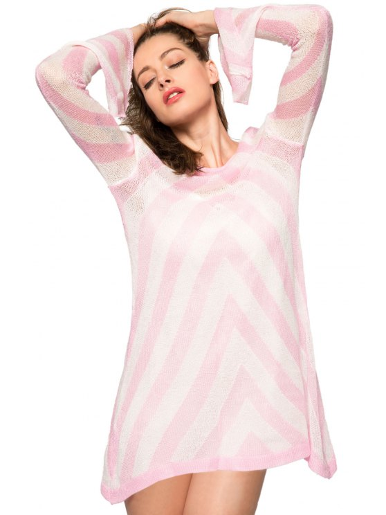 new Long Sleeve Striped Sweater - PINK S