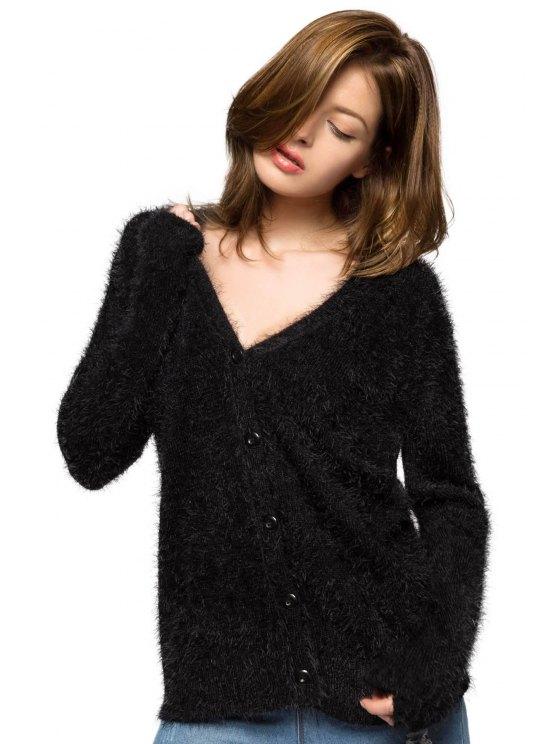 Black Long Sleeve Mohair Cardigan - BLACK XS Mobile