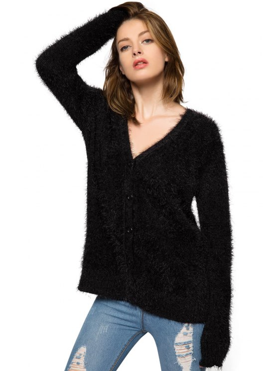 women Black Long Sleeve Mohair Cardigan - BLACK XS