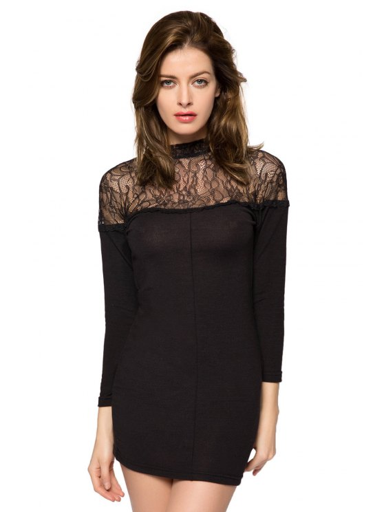 unique 3/4 Sleeve Lace Splicing Dress - BLACK XS